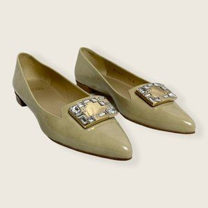 Stuart Weitzman Patent Leather Pointed Toe Flats Cream/Tan & Gold